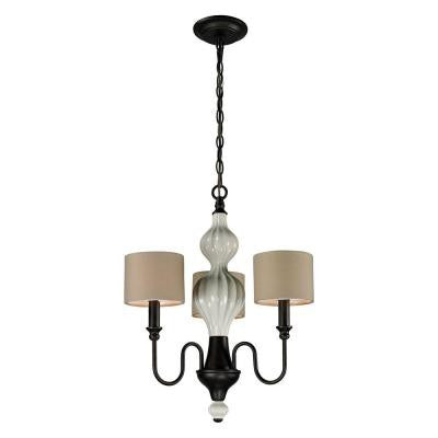 Lilliana 3-Light Seafoam and Aged Bronze Ceiling Mount Chandelier