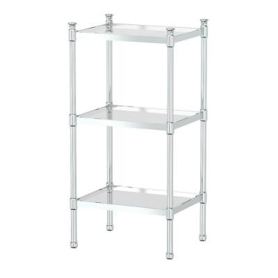 28 in. 3-Tier Rectangle Taboret in Chrome