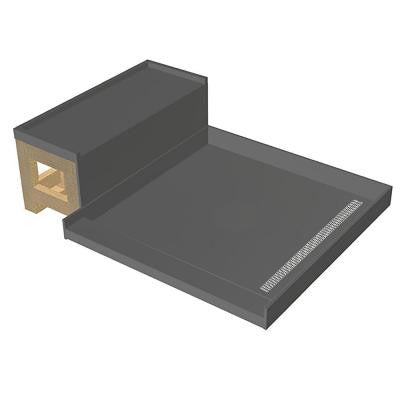 42 in. x 60 in. Single Threshold Shower Base and Bench Kit with Right Drain and Solid Brushed Nickel Trench Grate