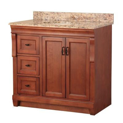 Naples 37 in. W x 22 in. D Vanity in Warm Cinnamon with Left Drawers with Vanity Top and Stone Effects in Santa Cecilia
