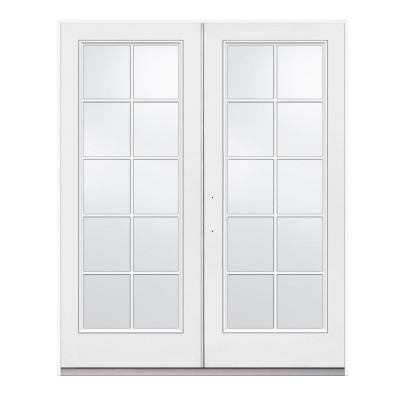 60 in. x 80 in. Primed White Right-Hand Inswing Low-E Tempered 10-Lite Fiberglass French Patio Door