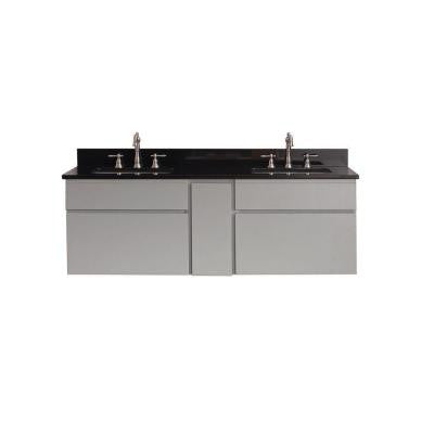 Tribeca 60 in. Vanity in Chilled Gray with Granite Vanity Top in Black