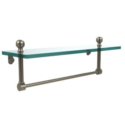 Mambo 16 in. W Glass Vanity Shelf with Integrated Towel Bar in Antique Pewter