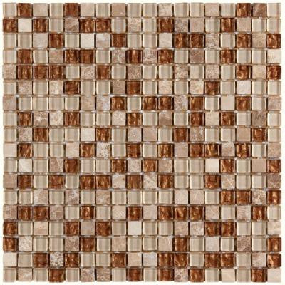 Tessera Mini Caramel 11-3/4 in. x 11-3/4 in. x 8 mm Glass and Stone Mosaic Wall Tile