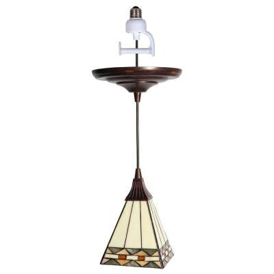 1-Light Antique Bronze Instant Pendant Conversion Kit with Tiffany-Style Glass Shade