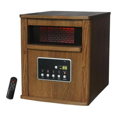 1500-Watt 6-Element Infrared Bulb Heater with Wood Cabinet and Remote