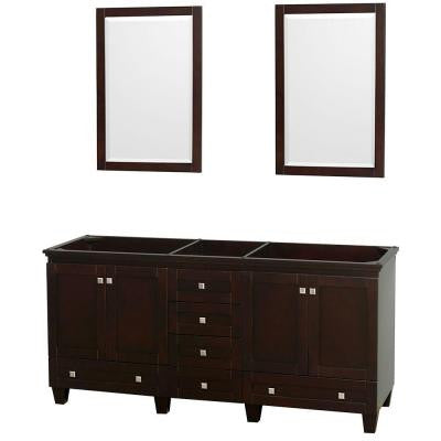 Acclaim 72 in. Double Vanity Cabinet with 2 Mirrors in Espresso
