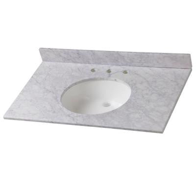 37 in. Stone Effects Vanity Top in Carrera with White Basin