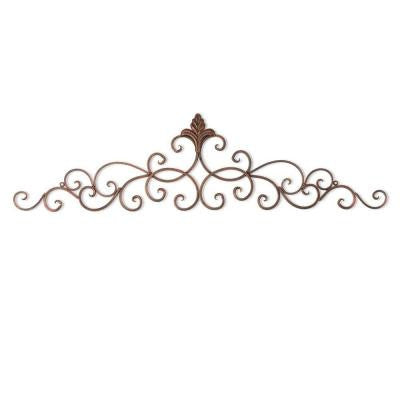 37.75 in. x 10 in. Iron Wall Decor in Rusted Burnt Copper