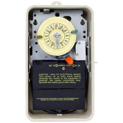 T100 Series 40-Amp 24-Hour Mechanical Time Switch with Outdoor Steel Enclosure and Pool Heater Protection