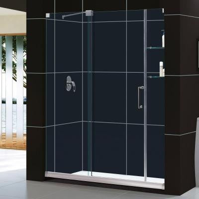 Mirage 60 in. x 74-3/4 in. Frameless Sliding Shower Door in Brushed Nickel with Right Hand Drain Base