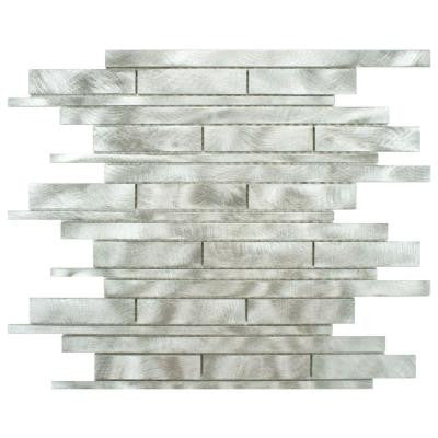 Alumina Linear Palladium 11-3/4 in. x 12 in. x 8 mm Brushed Aluminum Mosaic Wall Tile