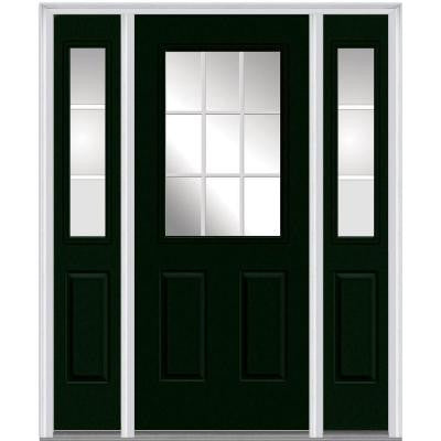 60 in. x 80 in. Classic Clear Glass GBG 1/2 Lite Painted Majestic Steel Prehung Front Door with Sidelites