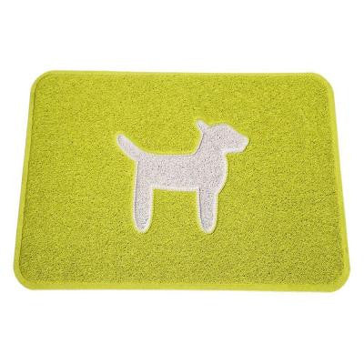 Modern Dog Collection Lemon Lime and Cool White 24 in. x 36 in. Premium Vinyl Indoor/Outdoor Floor Mat
