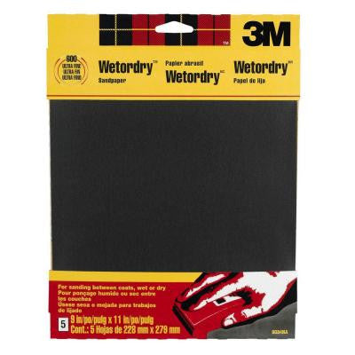 9 in. x 11 in. 600-Grit Ultra Fine Silicon Carbide Sand Paper (5 Sheets-Pack)
