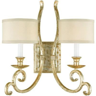 Candice Olson Collection, Lucy 2-Light Soft Gold Sconce with Cream Shade