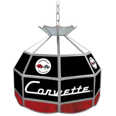 Corvette 16 in. Silver Hanging Tiffany Style Billiard Lamp