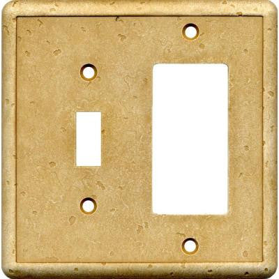 2 Gang 1 Toggle 1 Combination Cast Stone Wall Plate - Gold