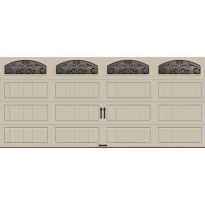 Gallery Collection 16 ft. x 7 ft. 6.5 R-Value Insulated Desert Tan Garage Door with Wrought Iron Window