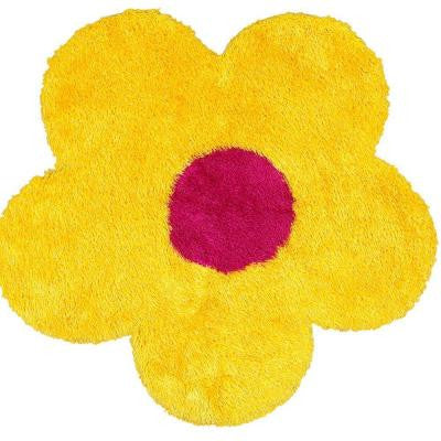 Senses Shag Shapes Yellow Flower 4 ft. x 4 ft. Indoor Area Rug