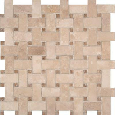 Colisseum Basketweave 12 in. x 12 in. x 10 mm Honed Travertine Mesh-Mounted Mosaic Tile (10 sq. ft. / case)