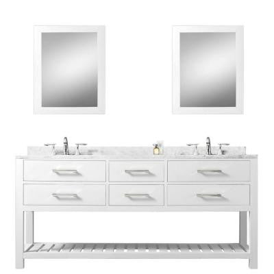 60 in. Vanity in Carrara White with Marble Vanity Top in Carrara White and Mirrors