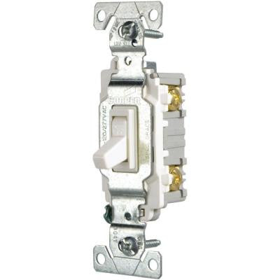 15 Amp Single Pole Light Switch - White