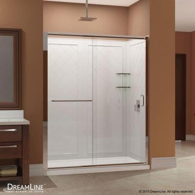 Infinity-Z 60 in. x 76-3/4 in. Frameless Sliding Shower Door in Brushed Nickel with Left Hand Drain Base and Backwalls