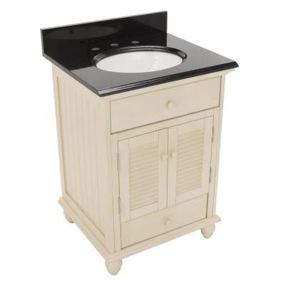 Cottage 25 in. W x 22 in. H Vanity in Antique White with Granite Vanity Top in Black