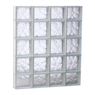 31 in. x 34.75 in. x 3.125 in. Non-Vented Wave Pattern Glass Block Window