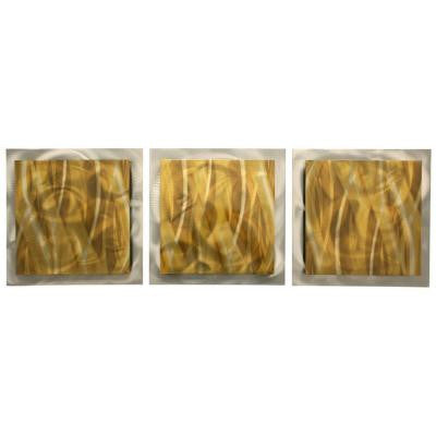 Brevium 12 in. x 38 in. Gold Essence Metal Wall Art (Set of 3)
