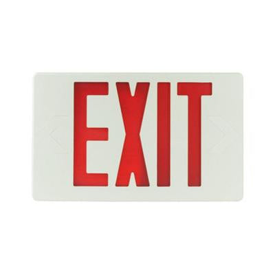 Nexis 1-Light Thermoplastic LED Universal Mount White with Red Emergency Exit Sign
