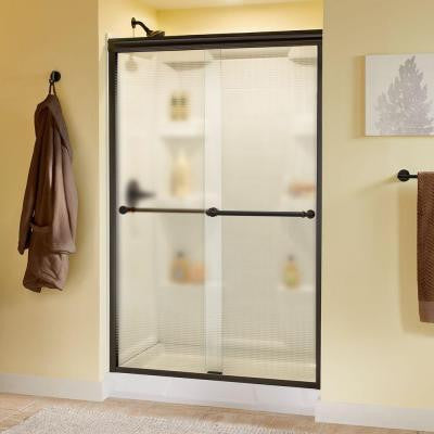 Silverton 48 in. x 70 in. Semi-Framed Sliding Shower Door in Bronze with Droplet Glass