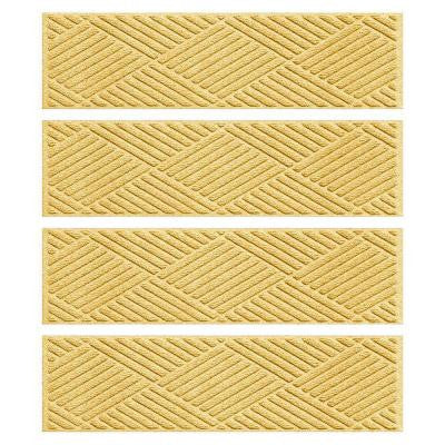 Yellow 8.5 in. x 30 in. Diamonds Stair Tread (Set of 4)