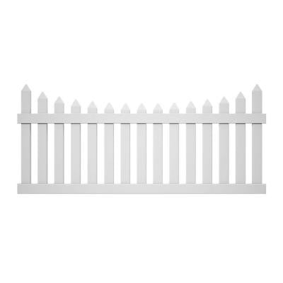 Pro-Series 3.5 ft. x 8 ft. Vinyl White Westchester Scalloped Spaced Picket Fence Panel - Unassembled