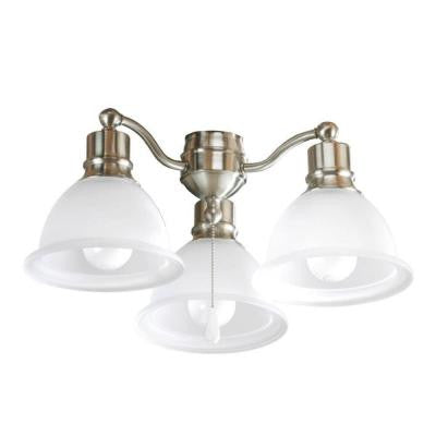 Madison Collection 3-Light Brushed Nickel Ceiling Fan Light