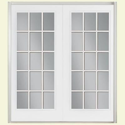 72 in. x 80 in. Ultra White Prehung Right-Hand Inswing 15 Lite GBG Fiberglass Patio Door w/ No Brickmold in Vinyl Frame