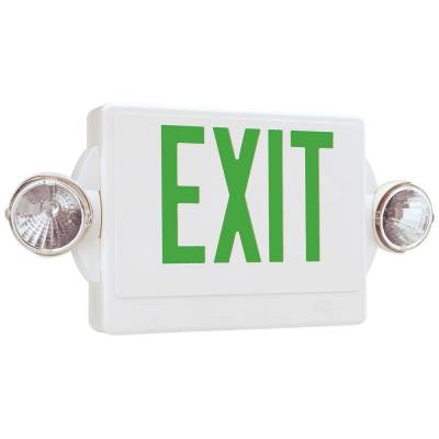 Quantum 2-Light Thermoplastic LED Emergency Exit Sign/Fixture Unit Combo