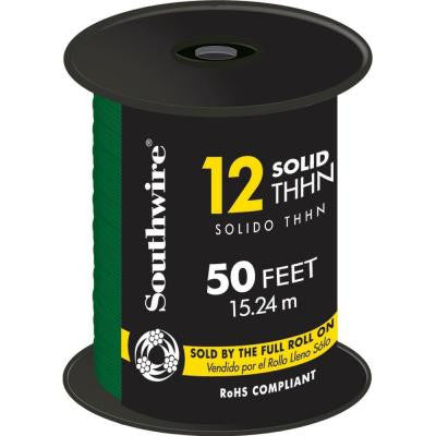 50 ft. 12/1 Solid THHN Wire - Green
