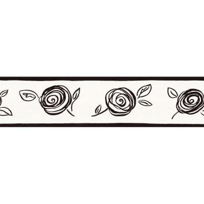 5.13 in. x 15 ft. Black and White Contemporary Floral Border
