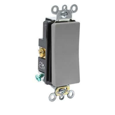 20 Amp 120/277-Volt Antimicrobial Treated Decora Plus Single-Pole Rocker Switch - Gray