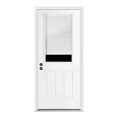 30 in. x 80 in. 1/2 Lite Primed Premium Steel Prehung Front Door with Mini-Blinds and Brickmould