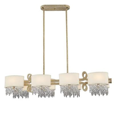 8-Light Linear Chandelier Gold Dust Finish Pale Cream Shades Clear Crystals