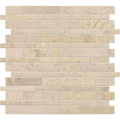 Coastal Sand Interlocking 12 in. x 12 in. x 10 mm Honed Limestone Mesh-Mounted Mosaic Tile (10 sq. ft. / case)
