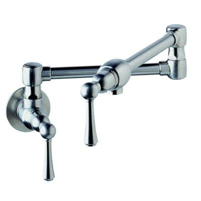 Pot Filler Wall Mount 2-Handle Kitchen Sink in Stainless Steel (Valve Not Included)