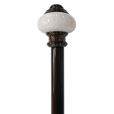 66 in. - 120 in. Telescoping 3/4 in. Curtain Rod Kit in Antique Bronze with Vintage Ceramic Finial
