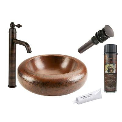 All-in-One Premium Blooming Vessel Hammered Copper Bathroom Sink in Oil Rubbed Bronze
