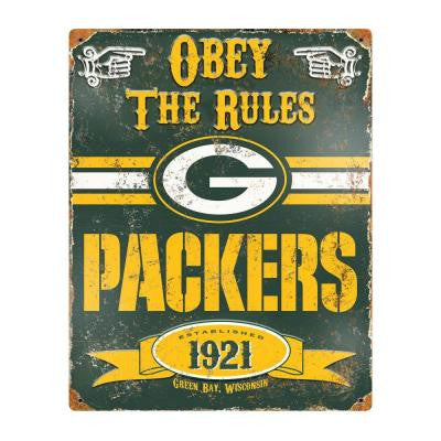 14.5 in. H x 11.5 in. D Heavy Duty Steel Green Bay Packers Embossed Metal Sign Wall Art