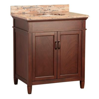 Ashburn 31 in. W x 22 in. D Vanity in Mahogany with Vanity Top and Stone Effects in Bordeaux