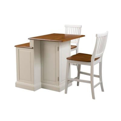 Woodbridge Two Tier Kitchen Island in White with Oak Top and Two Stools